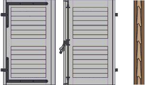 Volet à cadre, remplissage toute hauteur - persiennes non ajourées